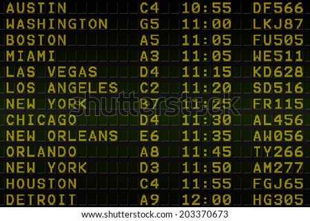 Digitally generated black airport departures board for america