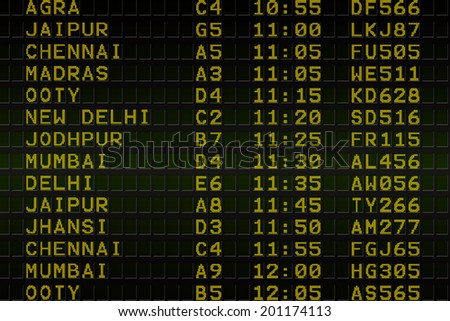 Digitally generated black airport departures board for india