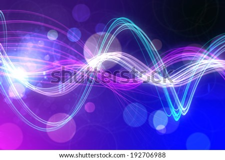 Digitally generated curved laser light design in purple