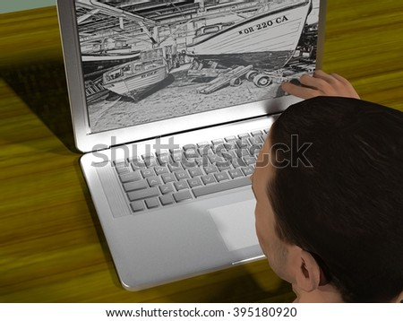 digitally generated 3d illustration of a man working at a laptop on a desk