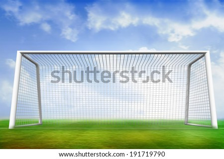 Digitally generated football pitch and goal under blue sky - stock photo