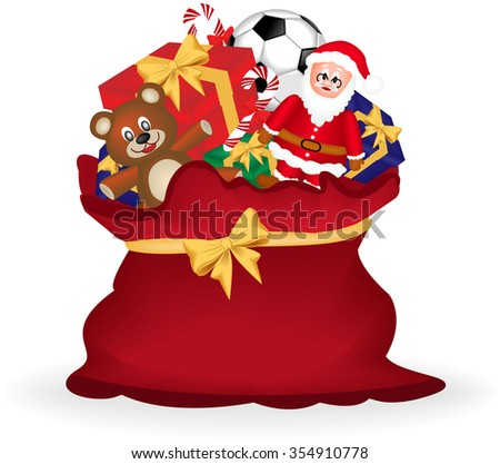 Digitally generated image of a Christmas gift bag with teddy bear, santa claus and gift box. - stock photo