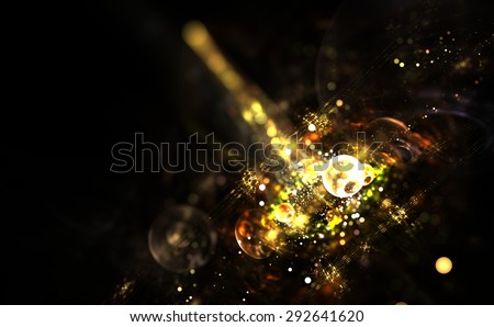 Digitally generated image of colorful light and abstract shapes over black background - stock photo