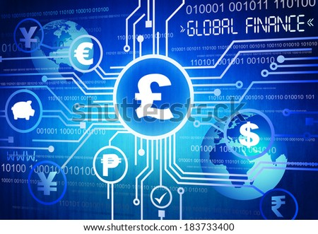 Digitally Generated Image of Different Global Currency Symbols - stock photo