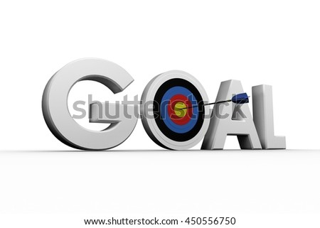 Digitally generated image of the word goal over white background