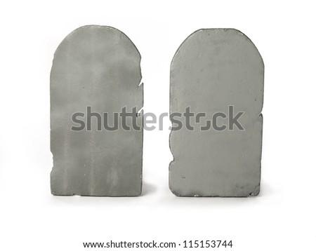 Digitally generated image of two gravestones. - stock photo