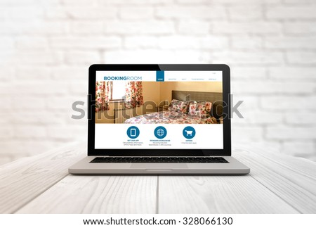 digitally generated laptop on a wooden table with booking web. Screen graphics are made up. - stock photo