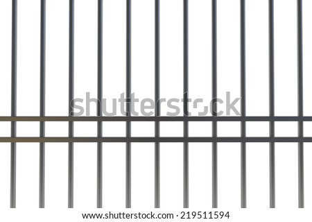 Digitally generated metal prison bars on white background - stock photo