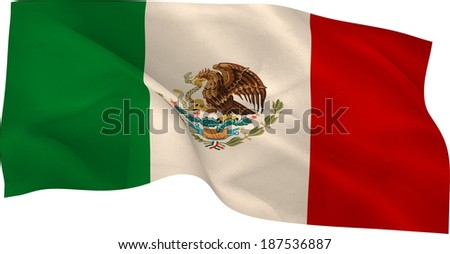 Digitally generated mexico national flag on white background