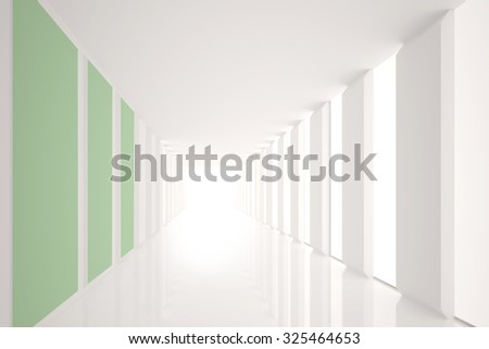 Digitally generated Modern white and green room with window
