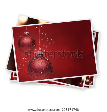 Digitally Generated Pile of Christmas Pictures - stock photo