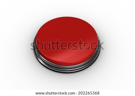 Digitally generated red push button on white background