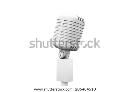 Digitally generated retro white microphone on white background