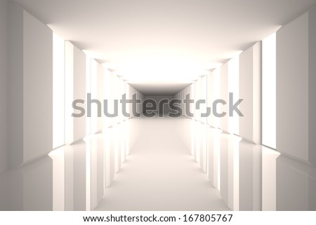 Digitally generated room with bright light