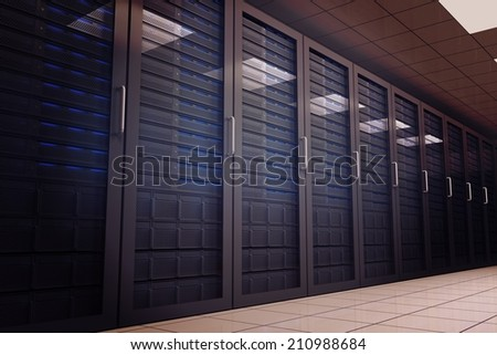 Digitally generated server room with many towers