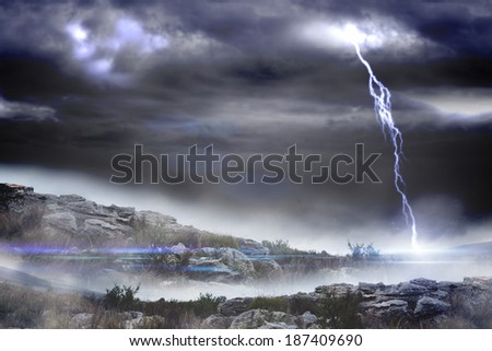 Digitally generated stormy landscape with lightning bolt