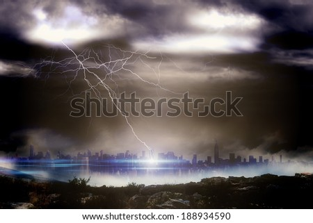 Digitally generated stormy sky over large city
