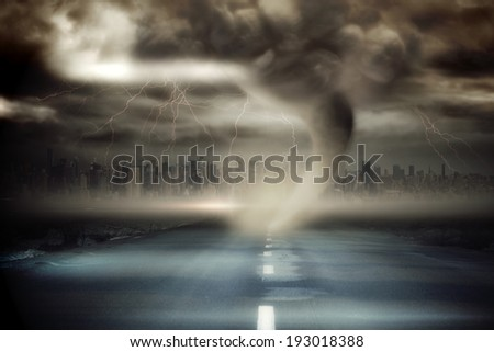 Digitally generated stormy sky with tornado over road - stock photo