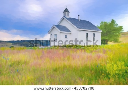 Digitally hand painted art from a photo of a small country church in the foothills of the Rocky Mountains. - stock photo
