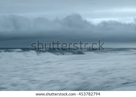 Digitally hand painted art from a photo of the Atlantic Ocean. - stock photo