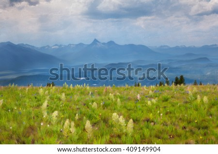 Digitally hand painted photo of a mountain meadow in Wyoming. - stock photo