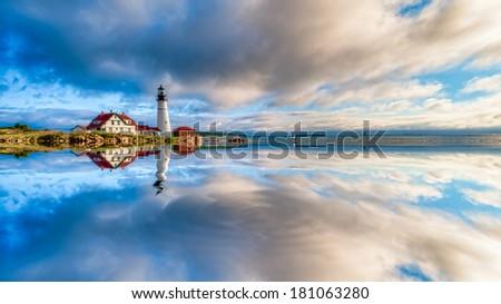 Digitally manipulated image reflection of the Portland Head Lighthouse, Cape Elizabeth, Maine, USA - stock photo