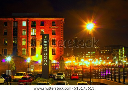 Digitally painted illustration of The Albert Dock complex in Liverpool at night with an oil on canvas texture