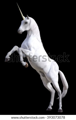 Digitally rendered blue eyed unicorn rearing on hind legs isolated on black