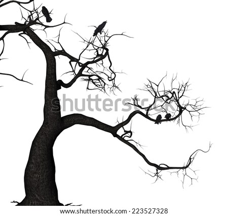 Digitally rendered illustration of a crows on tree. - stock photo