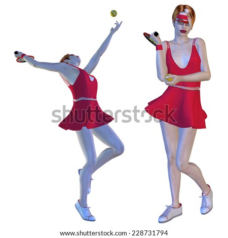 Digitally rendered illustration of a female tennis player in red dress. - stock photo