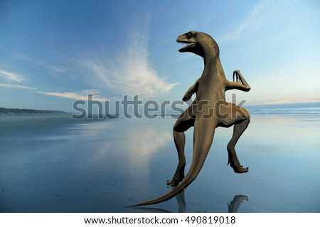digitally rendered illustration of a raptor on the beach