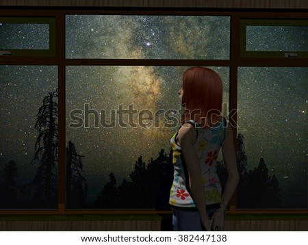 digitally rendered illustration of a young woman starring out the window to the milky way