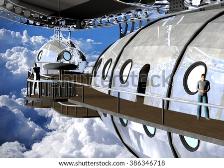 digitally rendered illustration of an imaginary vintage silver blimp soaring above the clouds - stock photo