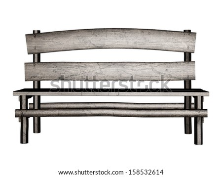 Digitally rendered illustration of an old wooden bench on white background.