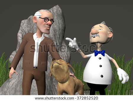 digitally rendered illustration of two older men talking and walking their dog