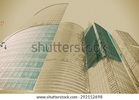 digitally transformed photo of modern office building. Business background. Business background illustration. Painting with watercolor and pencil. Brushed artwork. - stock photo