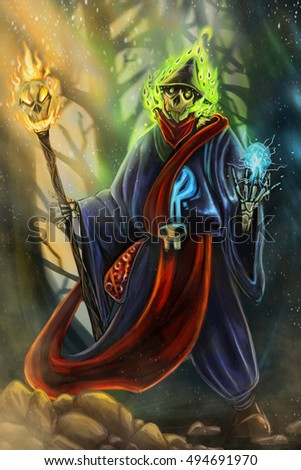 Digitalpainting Necromancer Wizard Charecter create
