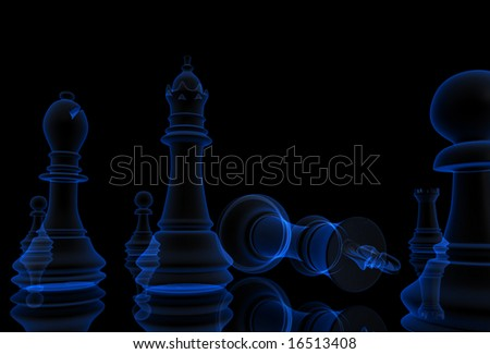 Digitaly created chess game in x-ray. - stock photo