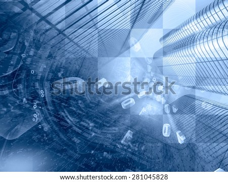 Digits and buildings - abstract computer background in blues. - stock photo