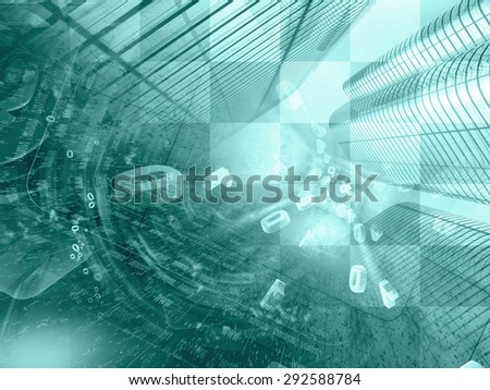 Digits and buildings - abstract computer background in greens. - stock photo