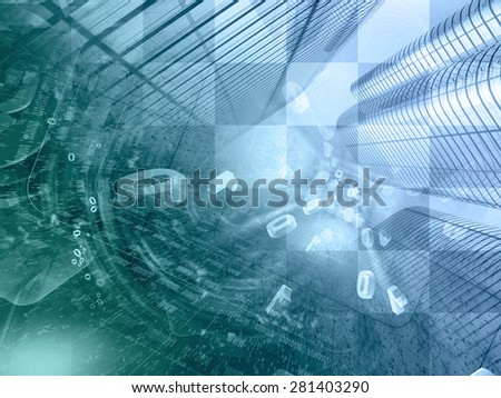 Digits and buildings - abstract computer background in greens and blues. - stock photo