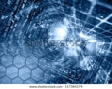 Digits and cells - abstract computer background in blues. - stock photo