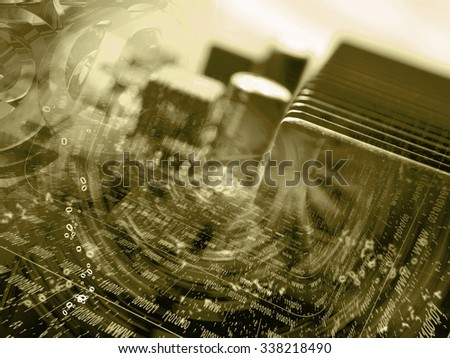 Digits and device - abstract computer background in sepia. - stock photo