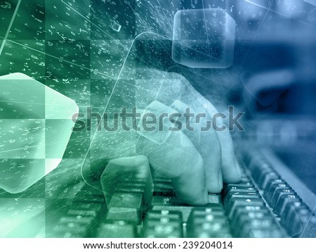 Digits and keyboard - abstract computer background ion greens and blues. - stock photo