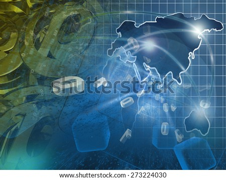 Digits and map - abstract computer background. - stock photo