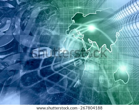 Digits, buildings and map - abstract computer background in greens and blues. - stock photo