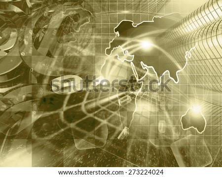 Digits, buildings and map - abstract computer background in sepia. - stock photo