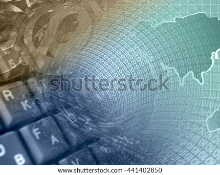 Digits, keyboard and map - abstract computer background, toned. - stock photo