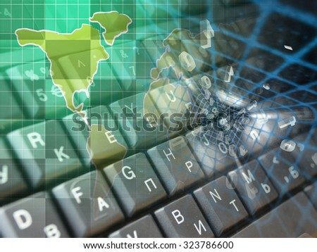 Digits, keys and map - abstract computer background. - stock photo