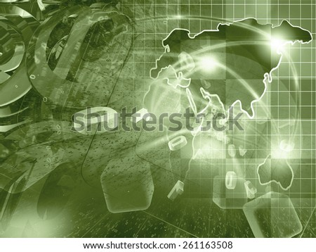 Digits, mail signs and map - abstract computer background in sepia. - stock photo